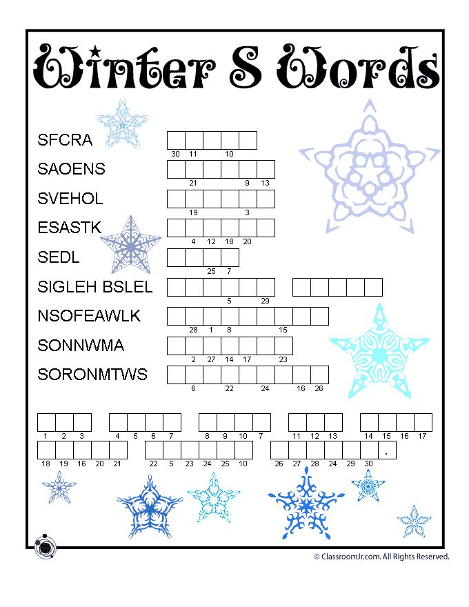 Winter Word Scamble | Classroom Jr. Repinned by SOS Inc. Resources pinterest.com/sostherapy/.