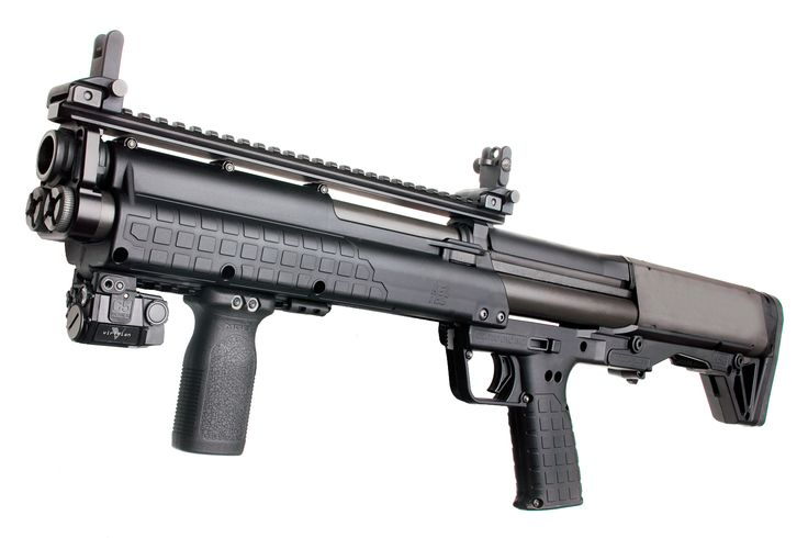 Kel-Tec's new 15-round KSG dual tube shotgun.  It's a first generation firearm, and therefore, a piece of junk,  Still, it would be sweet to squeeze off 15 rounds of 12-gauge buckshot into some poor, bastard of an ice block.