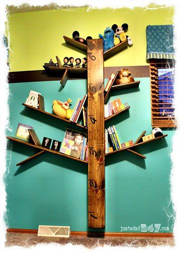 Tree Bookshelf with Growth Chart - diy…making a bookshelf look like a tree is a grey idea for a cob house..