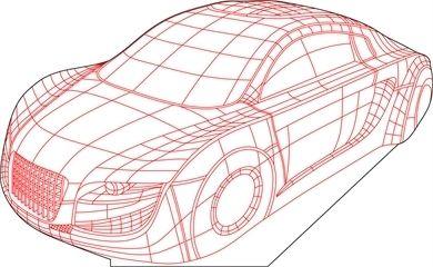 Car 3D illusion vector drawing