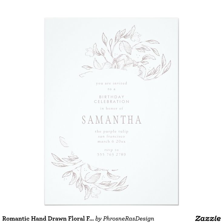 Romantic Hand Drawn Floral Frame Invitation #zazzle #floral #illustration #sketch #phrosnerasdesign #phrosneras #stationery #party #invite #romantic #elegant #wedding