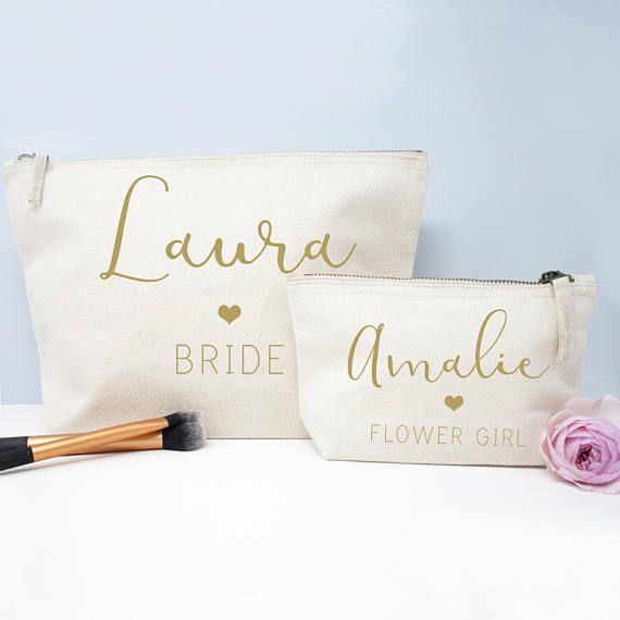 Personalised Stylish Handwritten Bridesmaid Makeup Bag