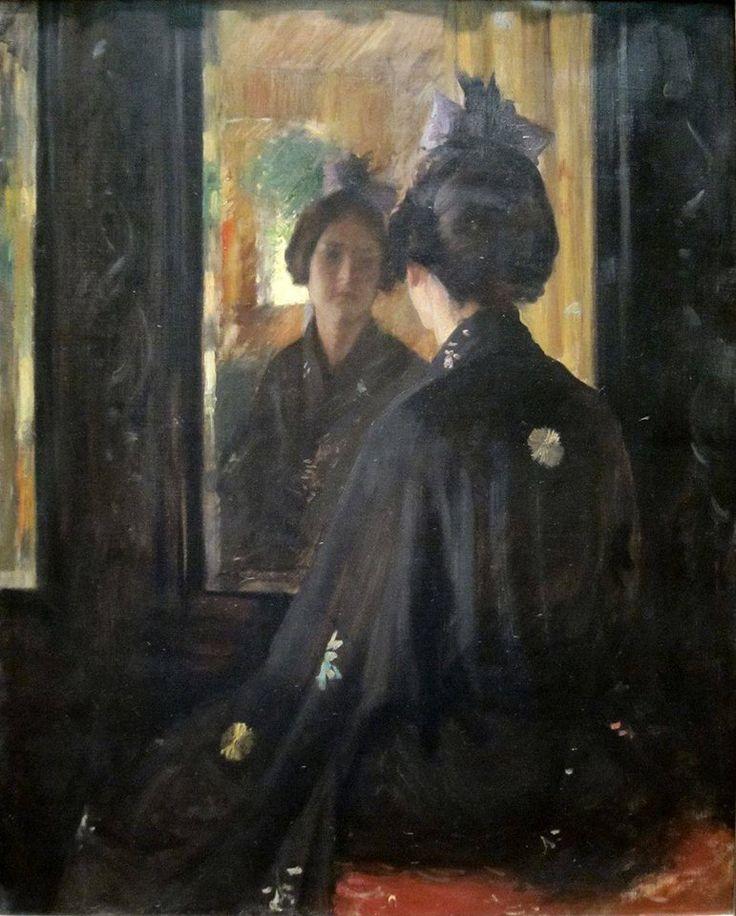 William Merritt Chase (1849-1916), The Mirror, 1900, Cincinnati Art Museum, oil on canvas, cm 91.4x73.7
