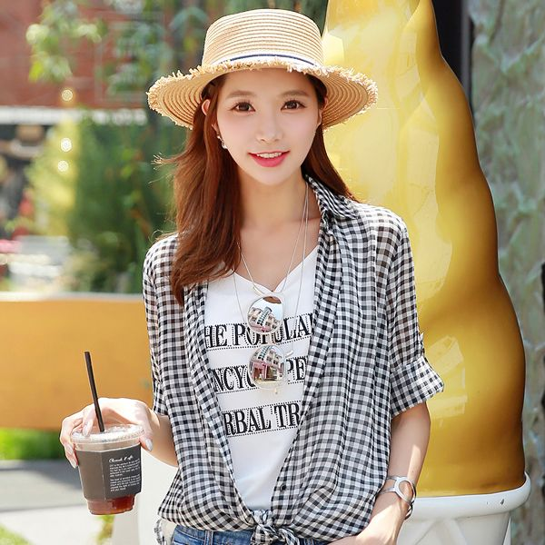 StyleOnme_Frayed Straw Hat #summer #koreanfashion #kstyle #check #shirt #straw #hat