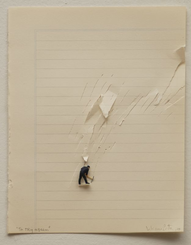 Liliana Porter 'To Try Again' (2010), 8 X 6 ¼ in., cuts on paper and metal figurine
