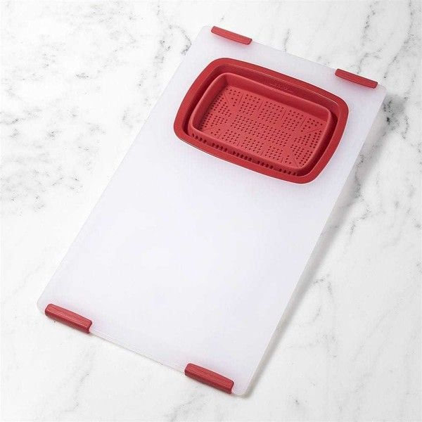 Crate & Barrel Over-the-Sink Red Board-Colander (404.775 IDR) ❤ liked on Polyvore featuring home, kitchen & dining, kitchen gadgets & tools, red colander, plastic chopping board, crate and barrel, food colander and plastic cutting board