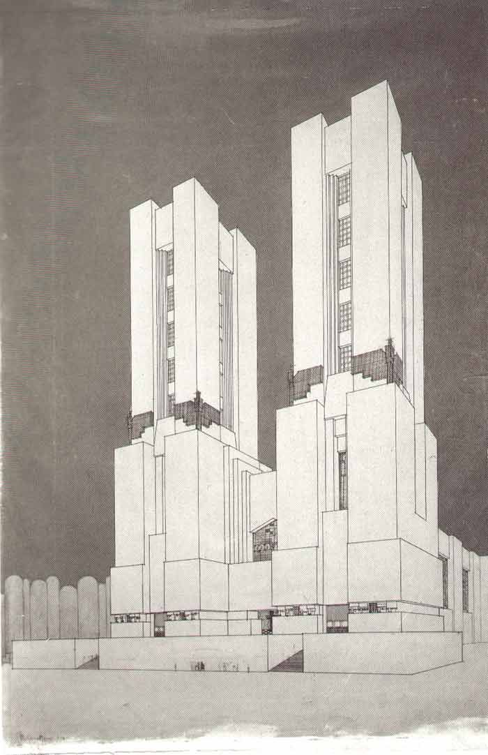 Catedral diseñada por Mario Chiattone (1914) esta edificación pertenece al futurismo que se dio en italia, era una vanguardia utopica, ya que estas obras no se dieron acabo.