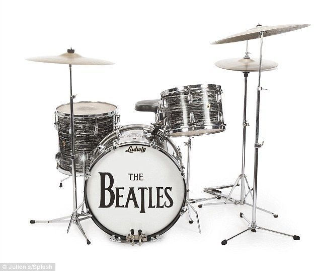 Ringo Starr's 1963 Ludwig Oyster black pearl three-piece drum kit (pictured) is expected to sell for up to £330,000