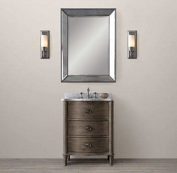 Restoration Hardware Bathroom Vanity Knockoff: Empire Rosette Powder Room Vanity