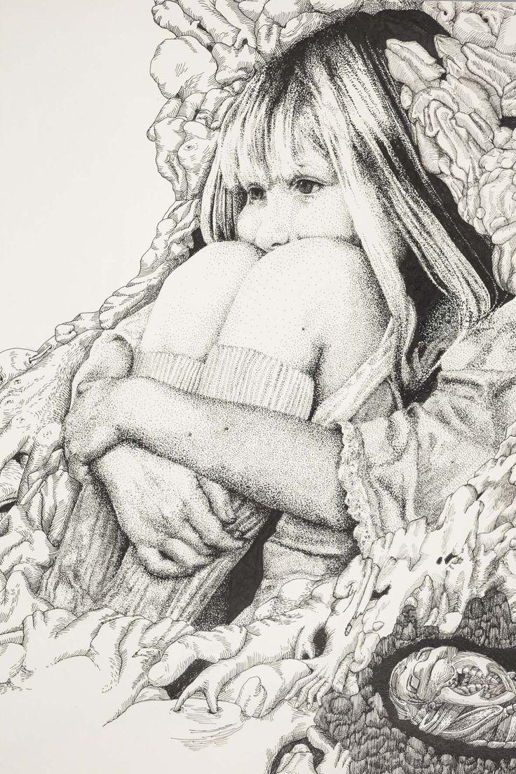 Salomé Pia, détails d'un dessins à l'encre, extrait de Carnet du Curiosité, carnet de dessin, 24 pages, 49,50 x 34,50 cm, 2014.