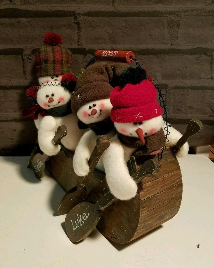 Primitive Wood Boat Snowmen  Winter Decor Folk art Centerpiece