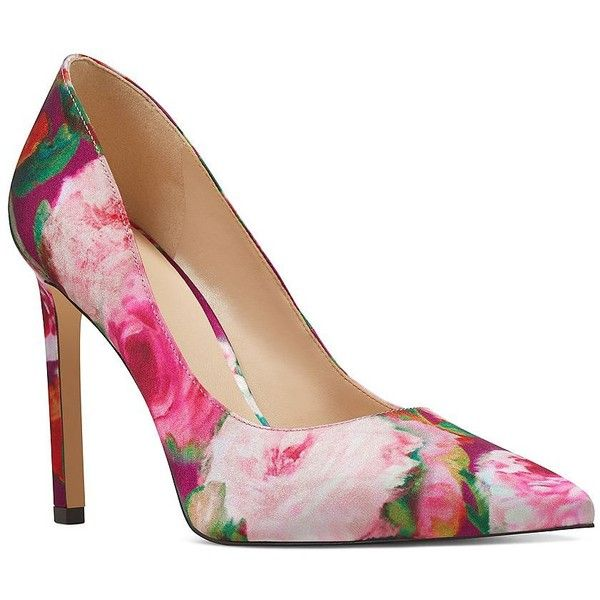 Nine West Women's Tatiana Floral Point Toe Pumps ($70) ❤ liked on Polyvore featuring shoes, pumps, pink, pink shoes, nine west shoes, pink floral shoes, floral pumps and pink satin shoes