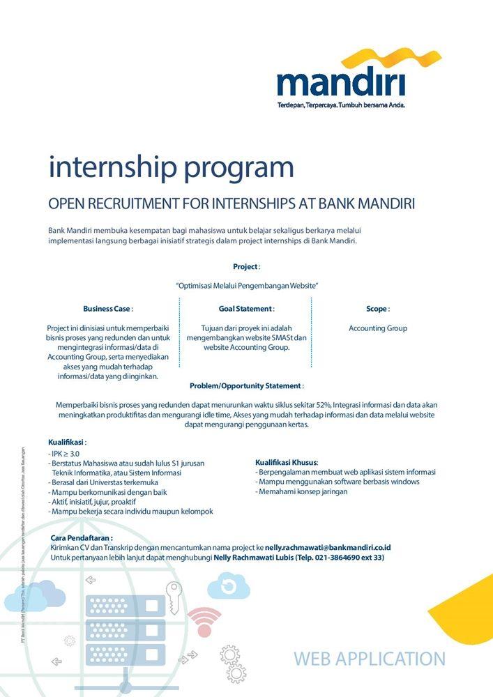Open Recruitment for #internship at Bank Mandiri untuk Mahasiswa atau sudah lulus S1 >> http://bit.ly/2CWoyX0   DEADLINE: 9 Maret 2018 #itbcc #karirITB #ITBcareer