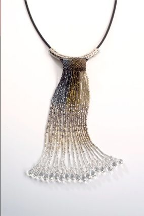Love the color flow! Peyote Stitch fringed pendant by Diane Hyde of Designers' Findings