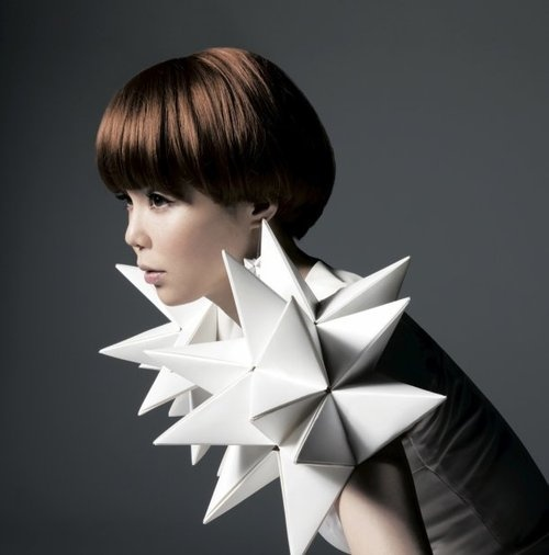 3D Geometric Fashion - spiky sculptural shoulder piece - origami fashion; wearable art; fashion architecture