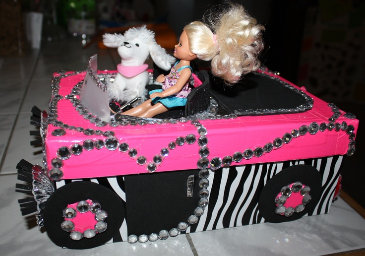 Handmade Barbie car Valentine box for school.
