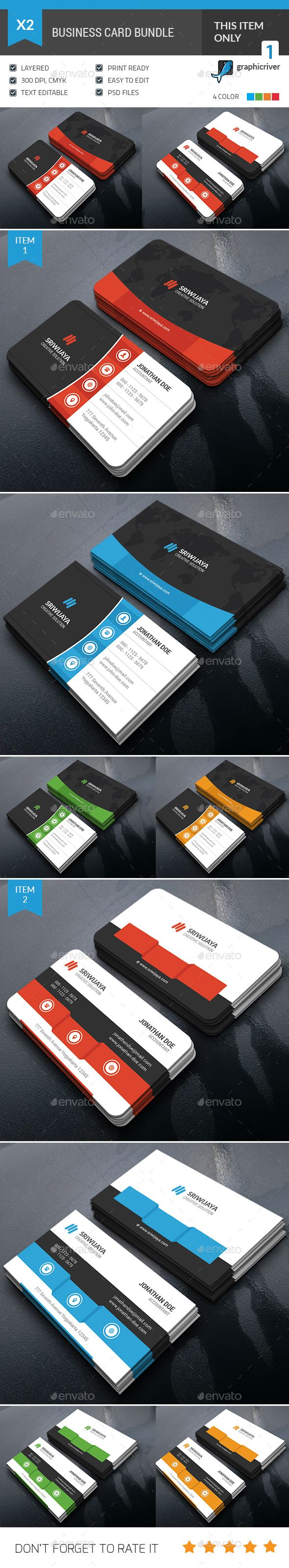 Business Card Bundle Template PSD #design Download: http://graphicriver.net/item/business-card-bundle/13616107?ref=ksioks