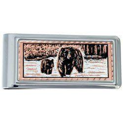 Bear and Cub Money Clip Rectangular