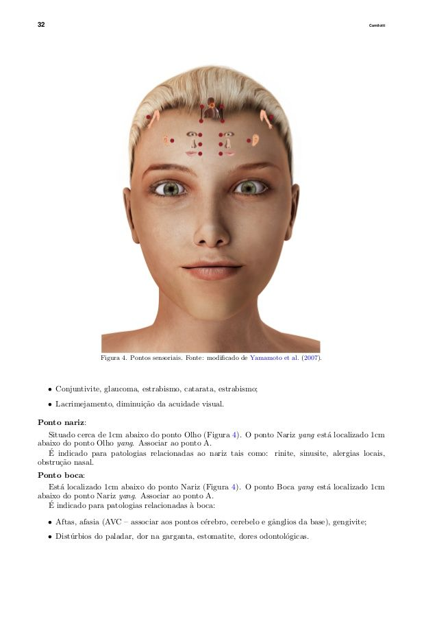 32 Camilotti Figura 4. Pontos sensoriais. Fonte: modificado de Yamamoto et al. (2007). • Conjuntivite, glaucoma, estrabismo...