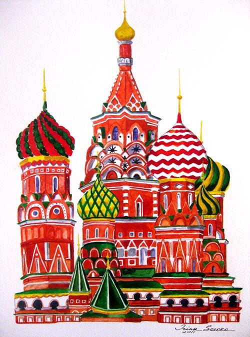 Saint Basil's cathedral in Moscow. Watercolor and ink on paper