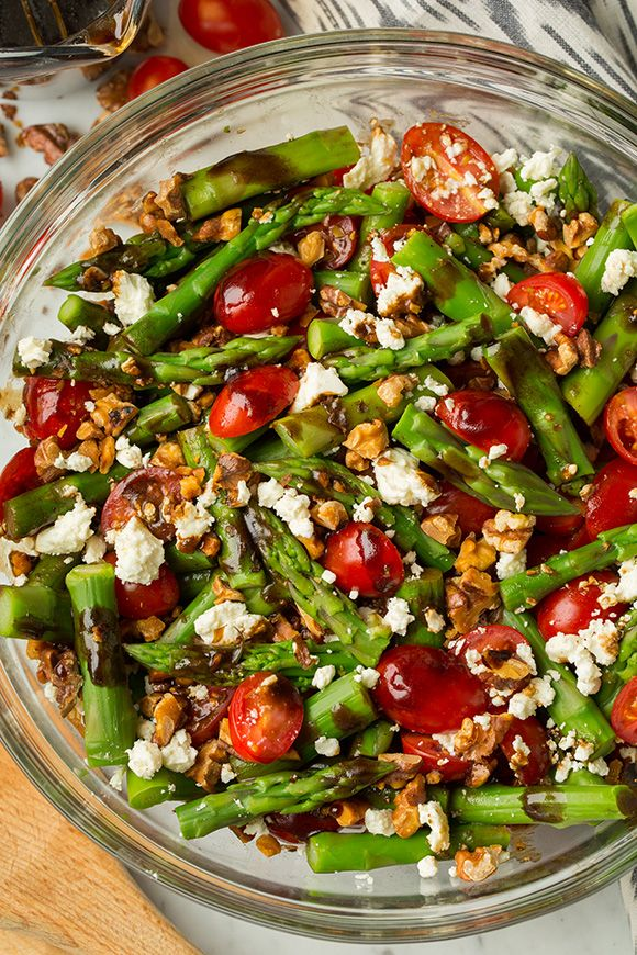 Asparagus, Tomato and Feta Salad with Balsamic Vinaigrette | (can substitute Strawberries for Tomatoes)