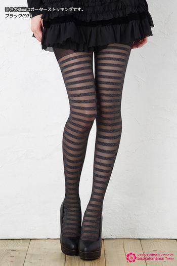 Border see-through garter stockings 【モア】細ボーダー メランジシースルー ガーターストッキング