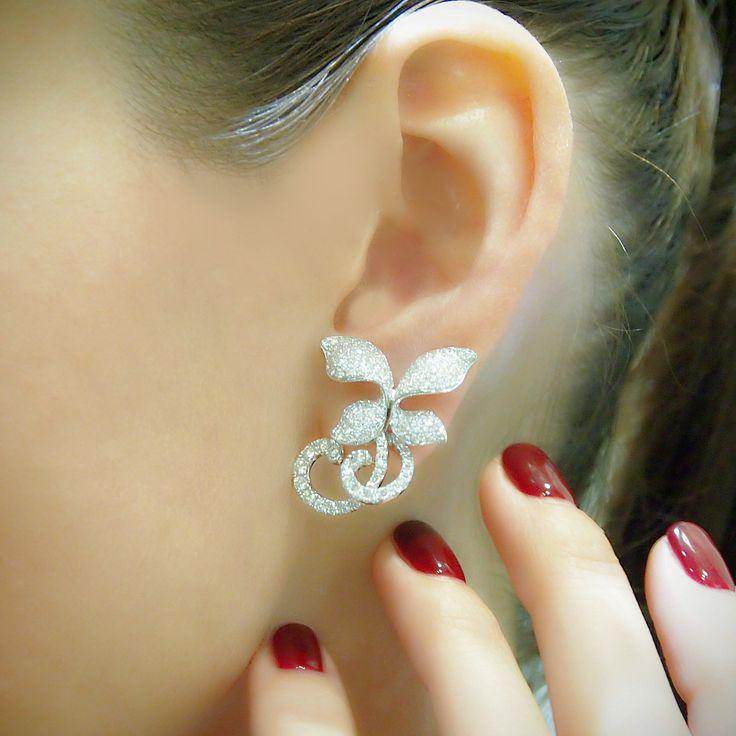 """""""Rococco Orchid"""" Asymmetrical Diamond Earrings - Plukka - Shop Fine Jewelry Online"""
