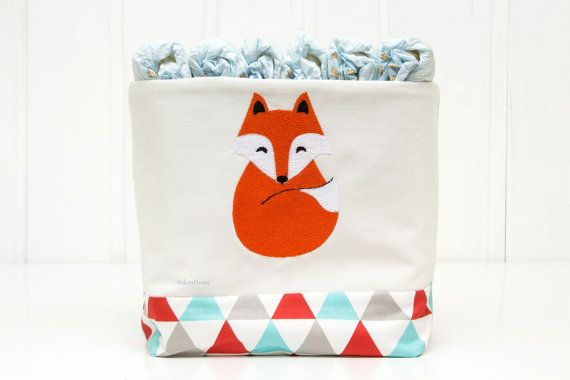 Nappy caddy Fox fabric bin nursery storage basket nappy