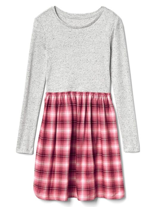 b66dc69409f Gap Girls Mix-Fabric Long Sleeve Dress Red Plaid