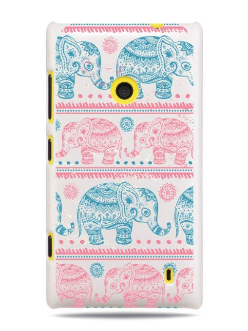 GRÜV Premium Case 'Elephants Stencil Henna Drawing' Design for Nokia Lumia 520 521 (Best Quality Designer Print on White hard cover)