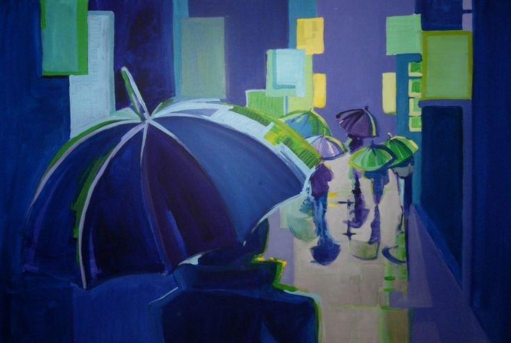 Zuzanna Walas, Deszczowa ulica, 2012 #art #contemporary #artvee