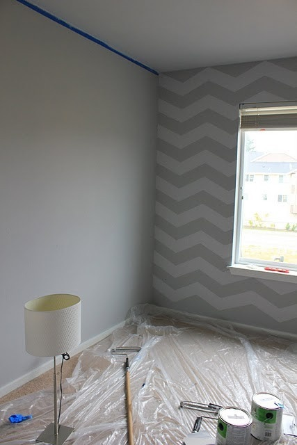 1 chevron striped wall as accent in guest room