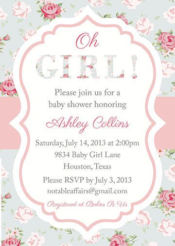 Shabby Chic Vintage Cottage Roses Girl Baby Shower Party Invitation