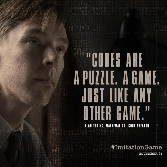 THE IMITATION GAME (2014) ~ Starring Benedict Cumberbatch as Alan Turing. Teaser graphic for the film.