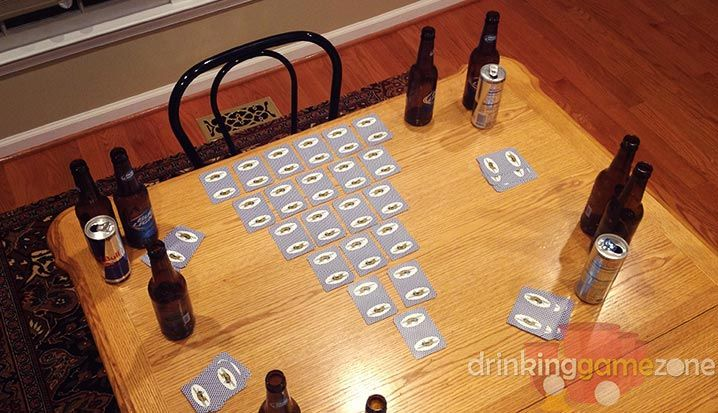 The Pyramid drinking game, card version involves a bit more thinking, and less skill than the Pyramid, coin version. Players have to memorize the cards they were dealt, and assign drinks based on either a bluff or on if they have a card that matches one in the pyramid, as the pyramid is flipped one by one.