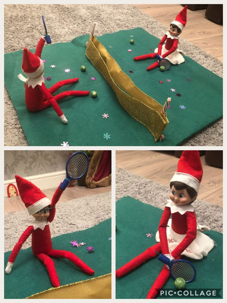 Elf on the Shelf playing tennis. nice little game of elf tennis tonight with chocolate sprout tennis balls   #elfontheshelf #elfontheshelf2017 #elfontheshelfideas #tennis #elf #mumlife #makingmemories