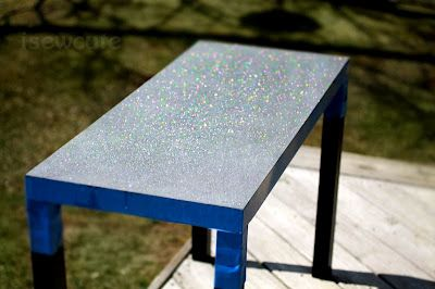DIY Glitter & Resin Table Top, using a $20 IKEA Lack particleboard coffee table  #IKEAHack