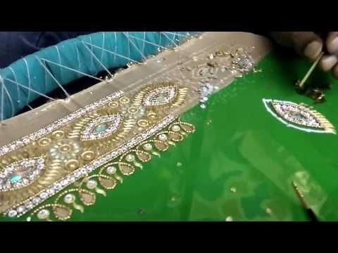 Zari work : making saree border design - YouTube