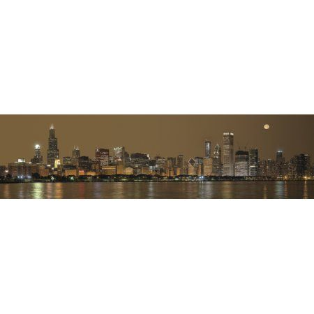 Skylines at the waterfront at night Chicago Cook County Illinois USA Canvas Art - Panoramic Images (12 x 42)