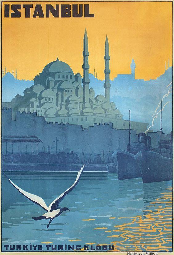 1920'ler ISTANBUL Seyahat Posteri