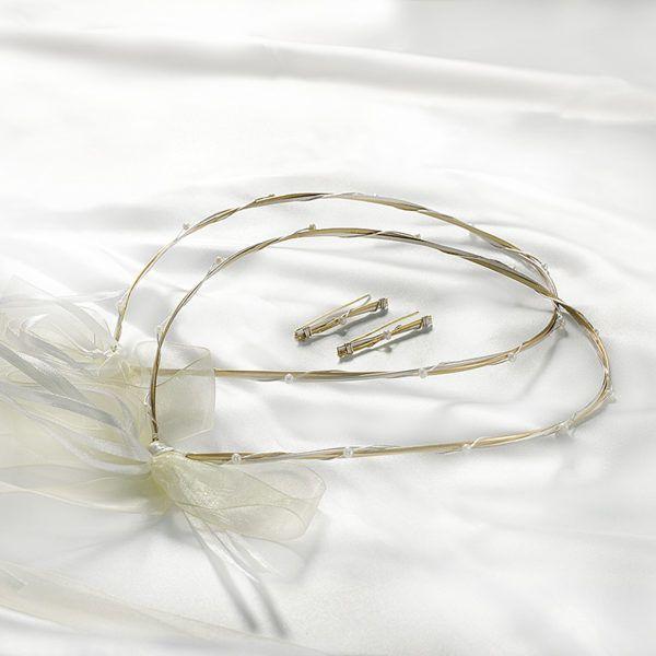 Στέφανα γάμου Ioannis collection δίχρωμο ασημένια με μαργαριτάρι D266-DIX