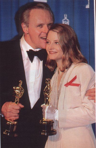 Jodie Foster + Anthony Hopkins, Oscar-winners for Silence of the Lambs    Such a great film, and such marvelous actors.
