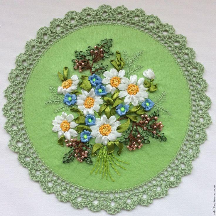 """Купить Вышивка лентами """"Весна"""" - Вышивка лентами, вышивка цветами, подарок девушке, подарок женщине"""