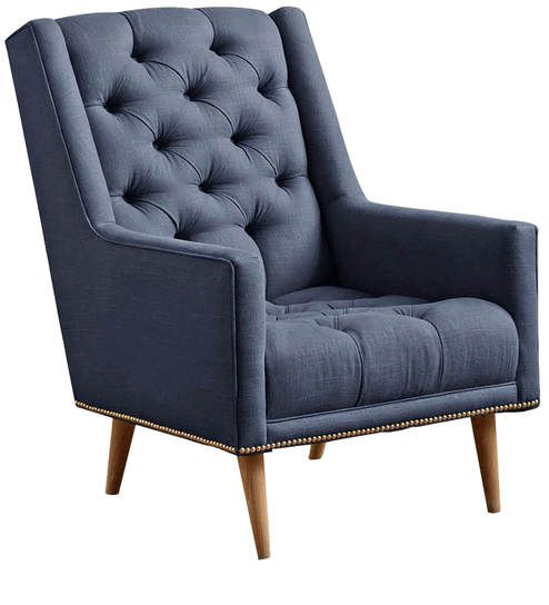 Buy Modern Accent Chair With Slanted Back Nailhead Trims In Blue Colour By Afydecor Online
