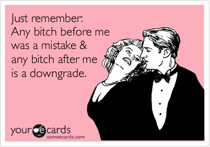 Funny Reminders Ecard: Just remember: Any bitch before me was a mistake & any bitch after me is a downgrade.