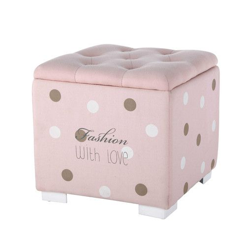 BLUSH fabric polka-dot button-tufted pouffe chest in pink