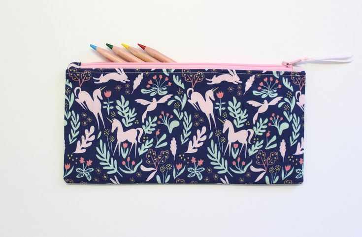 Unicorn Pencil Case, Small Pencil Case, Small Makeup Bag, Pencil Pouch, Cute School Supplies by LittleFoxSewsLots on Etsy