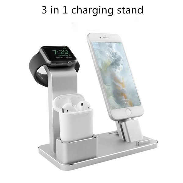 NEW 3 In 1 Aluminum Charging Dock Station Stand Charger