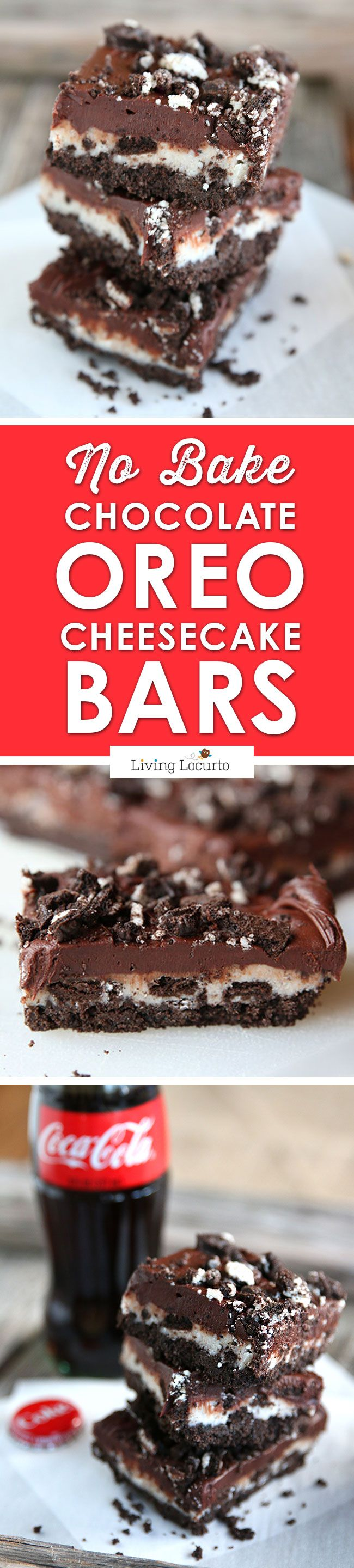 A chocolate lovers dream! This No Bake Chocolate OREO Cheesecake Bars recipe is an irresistible, melt-in-your mouth chocolate dessert recipe! Creamy chocolate, crunchy @oreo cookies and cheescake - just chill and eat!! LivingLocurto.com Great served with a cold @cocacola for a football watching party, birthday or when you need a fast chocolate fix. #homebowlherocontest #homebowlhero #iworkwithcoke ad