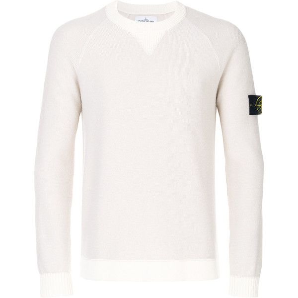 Stone Island contrast trim purl-knit jumper (850 BRL) ❤ liked on Polyvore featuring men's fashion, men's clothing, men's sweaters, mens long sweater, mens crew neck sweaters, mens knit sweater, mens elbow patch sweater and mens military sweater